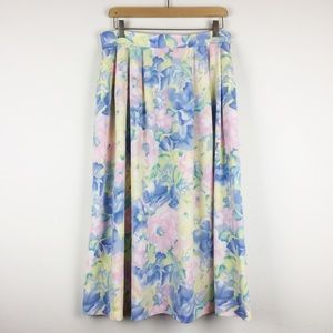 Vintage Koret high waist pastel floral midi skirt